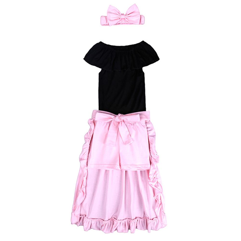 Girl Trendy Clothes Set Off-shoulder T-shirt + Shorts + Dovetail Skirt + Hairband Gift Summer Wear 4PCS/Set