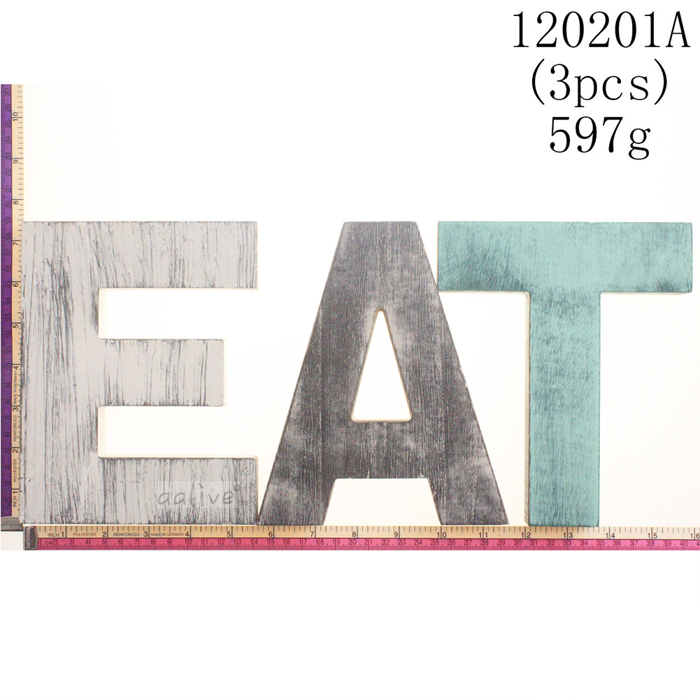 Wooden EAT Letters Wall Mounted Decorative Signs Hanging Pendant As shown_EAT