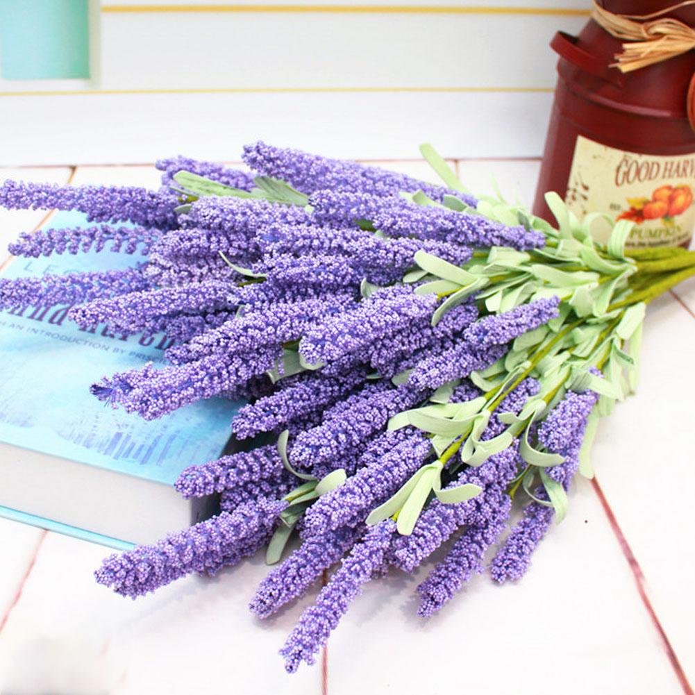 Simulate Lavender Bouquet Artificial Flower Home Wedding Decoration (12 Flower Head per Bouquet) light Purple