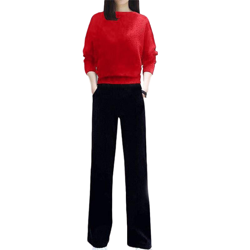 Women's Suit Autumn Solid Color Knitted Casual Loose Large Top + Pants red_M