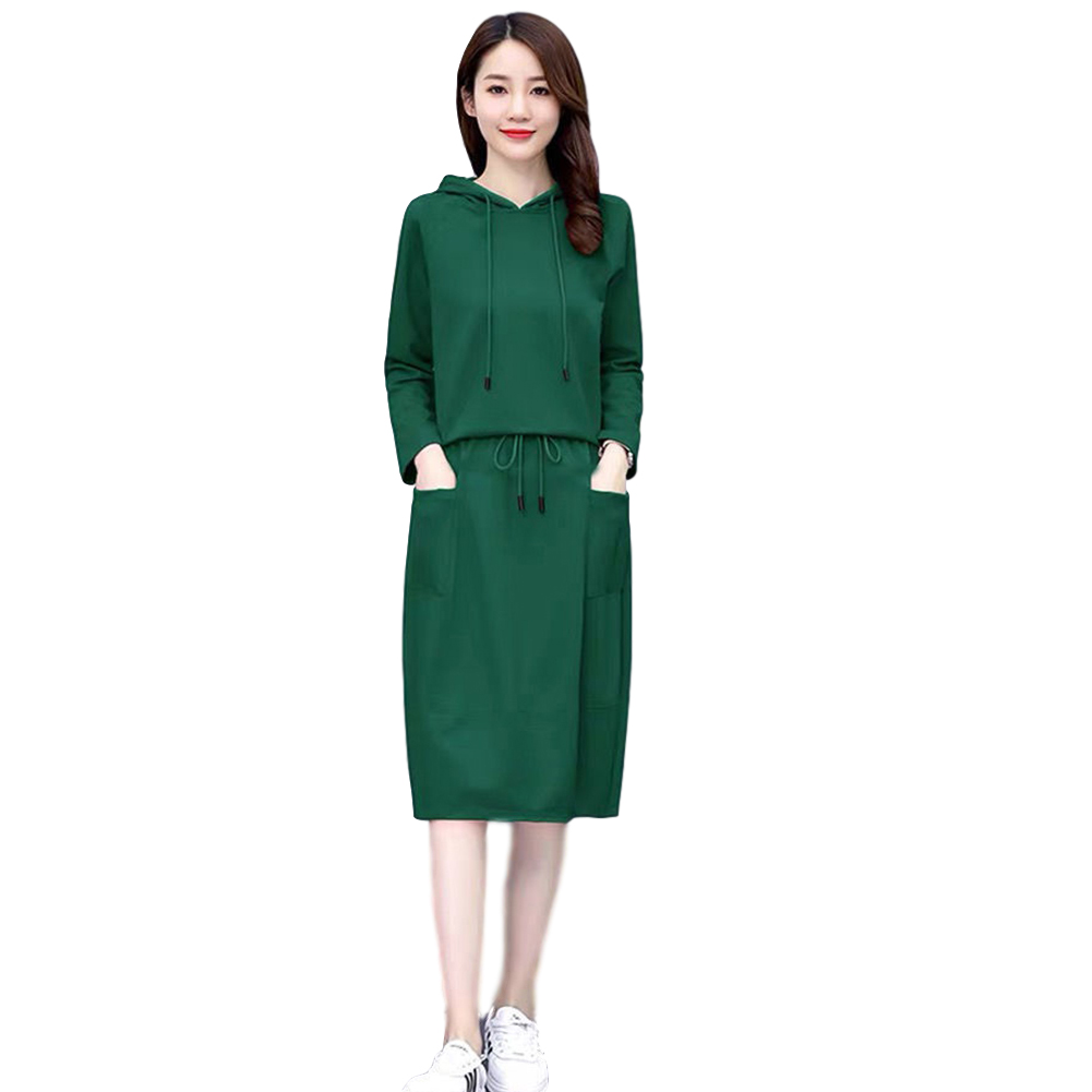 Women's Suit Autumn Winter Plus Size Casual Long-sleeve Top + Dress green_XXL