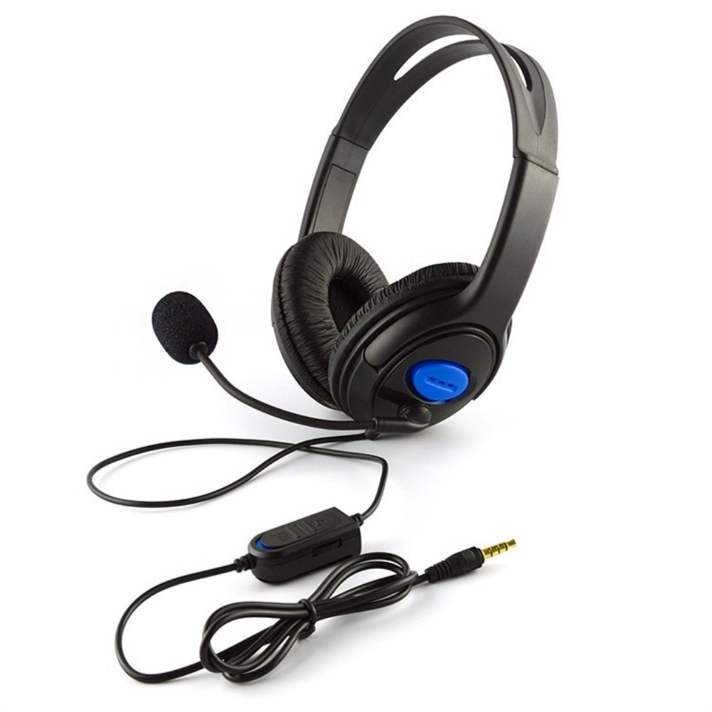 PS4/X-ONE Phone Computer Game Headset Stereo Wired Super Bass Universal Headset Black and blue