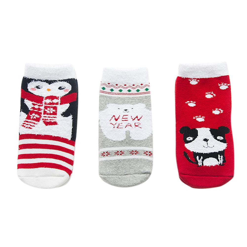 3Pairs/Set Cartoon Christmas Style Children Thickened Low Tube Warm Socks