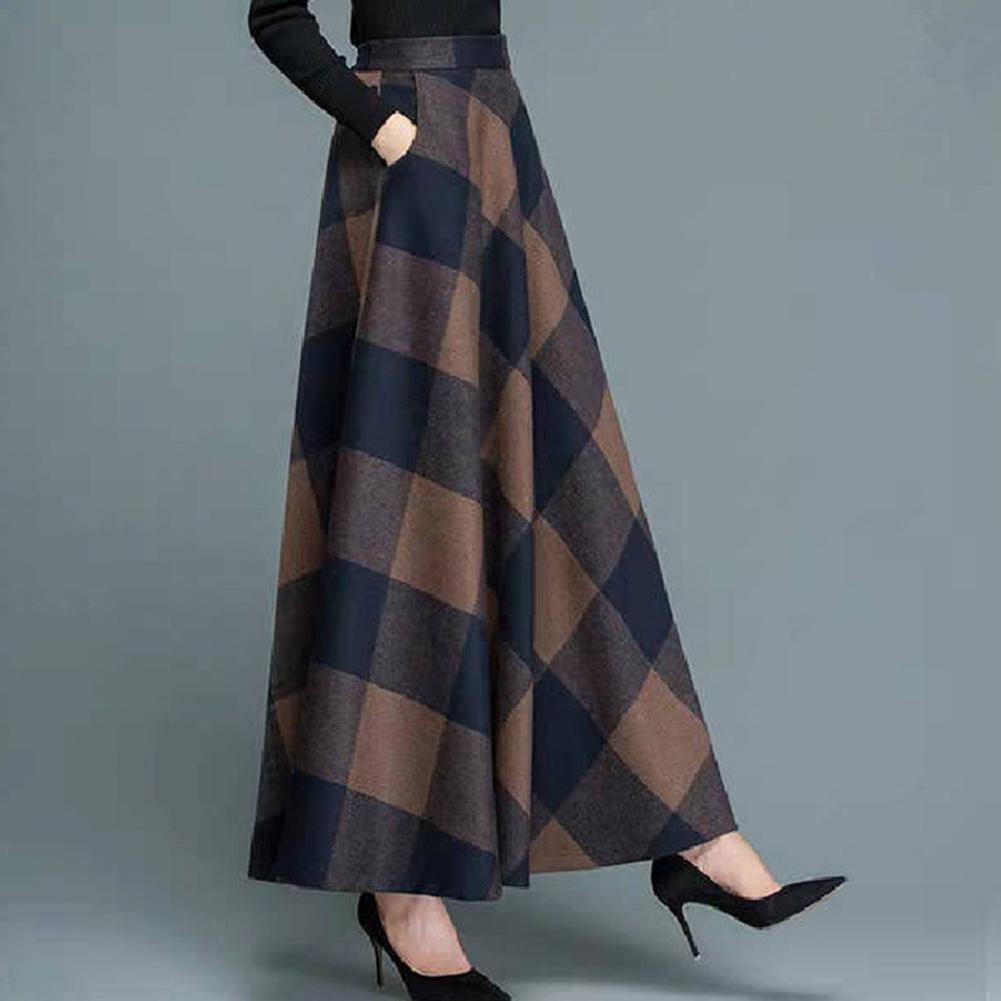 Women Lady Fashion Simple Design Autumn Winter Woolen Plaid A-line Skirt 2#_L