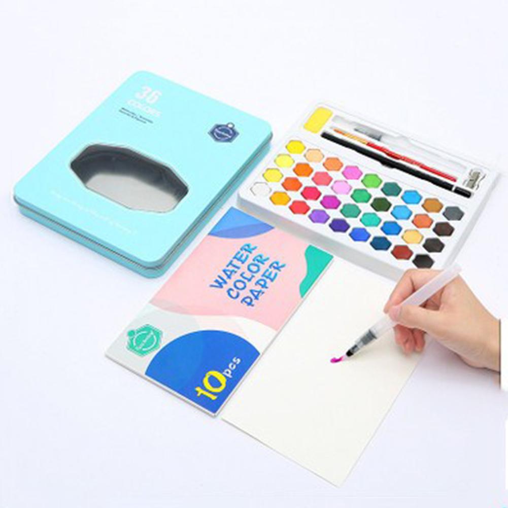 36 Colors Solid Watercolor Art Paint Pigment Set Portable Painting Drawing Kit 36 colors blue iron box