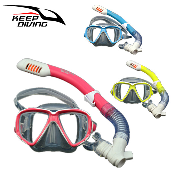 Children Full Dry Silicone Explosion Proof Lens Diving Mask Snorkel Set + Special Snorkeling Tube Equipment blue_For 3-15 years old