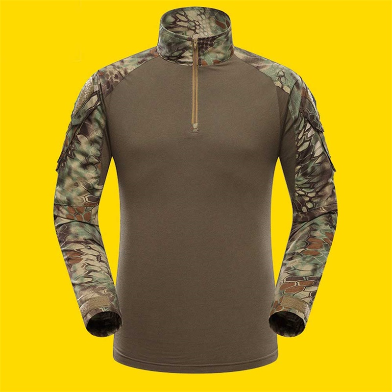 Outdoor Sports Men Military Camouflage Hunting Clothing Soldiers Combat Tactical T-Shirt Long Sleeve Frog T-Shirts Green python pattern_XXL