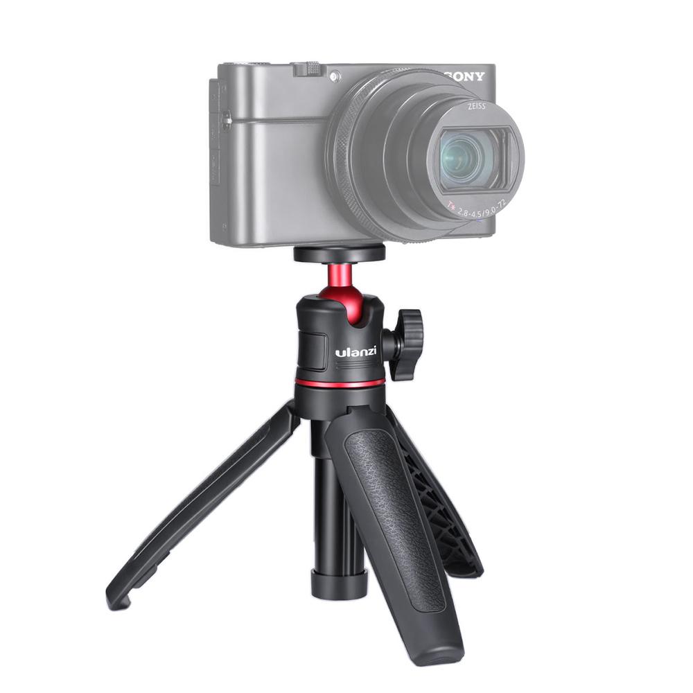 MT-08 Mini Portable and Adjustable Desktop Tripod for DSLR SLR Cellphone Ballhead Stand for Vlog Live Outdoor Travel  black