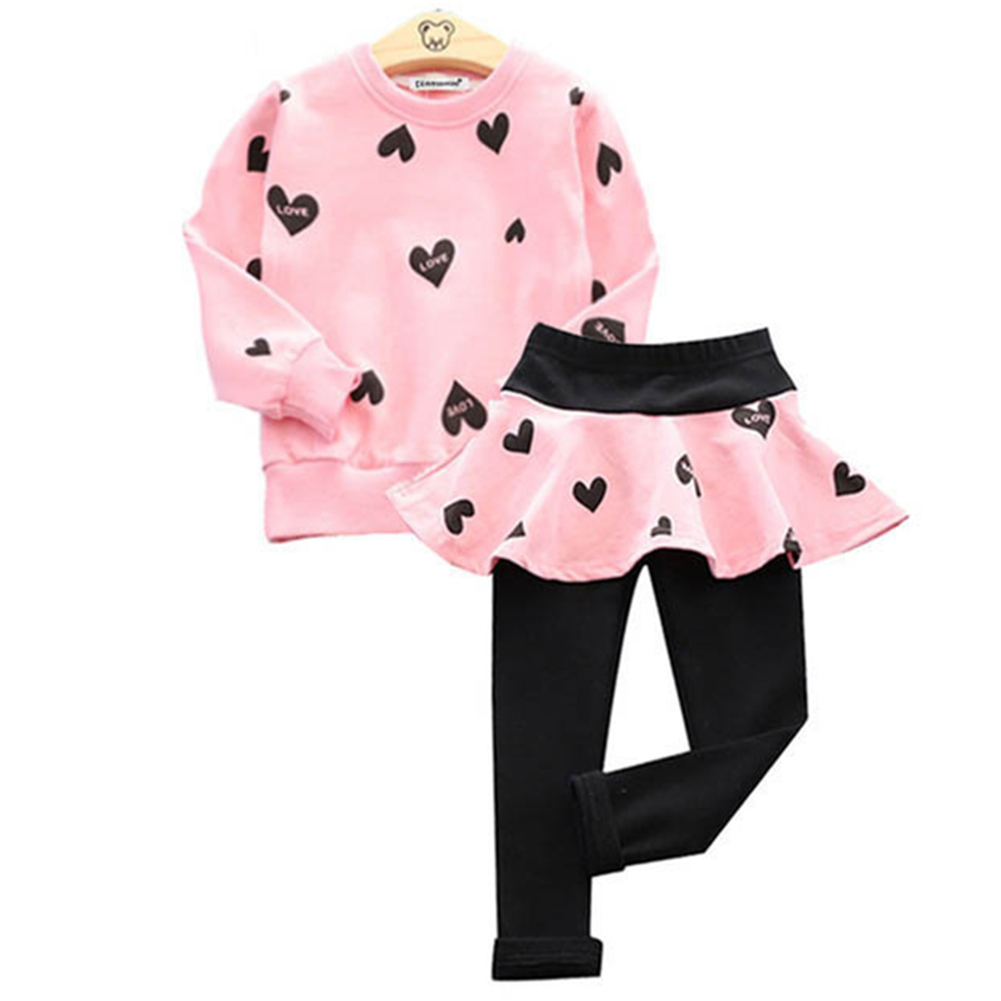 Children Love Sweater and Culottes Leggings Suit Long Sleeve Clothes for Girl Pink_130cm