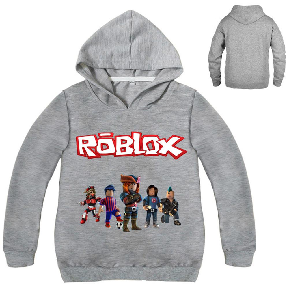 Children Printing Hooded Shirts Fashion Pattern Long Sleeve All-matching Tops  gray_160cm
