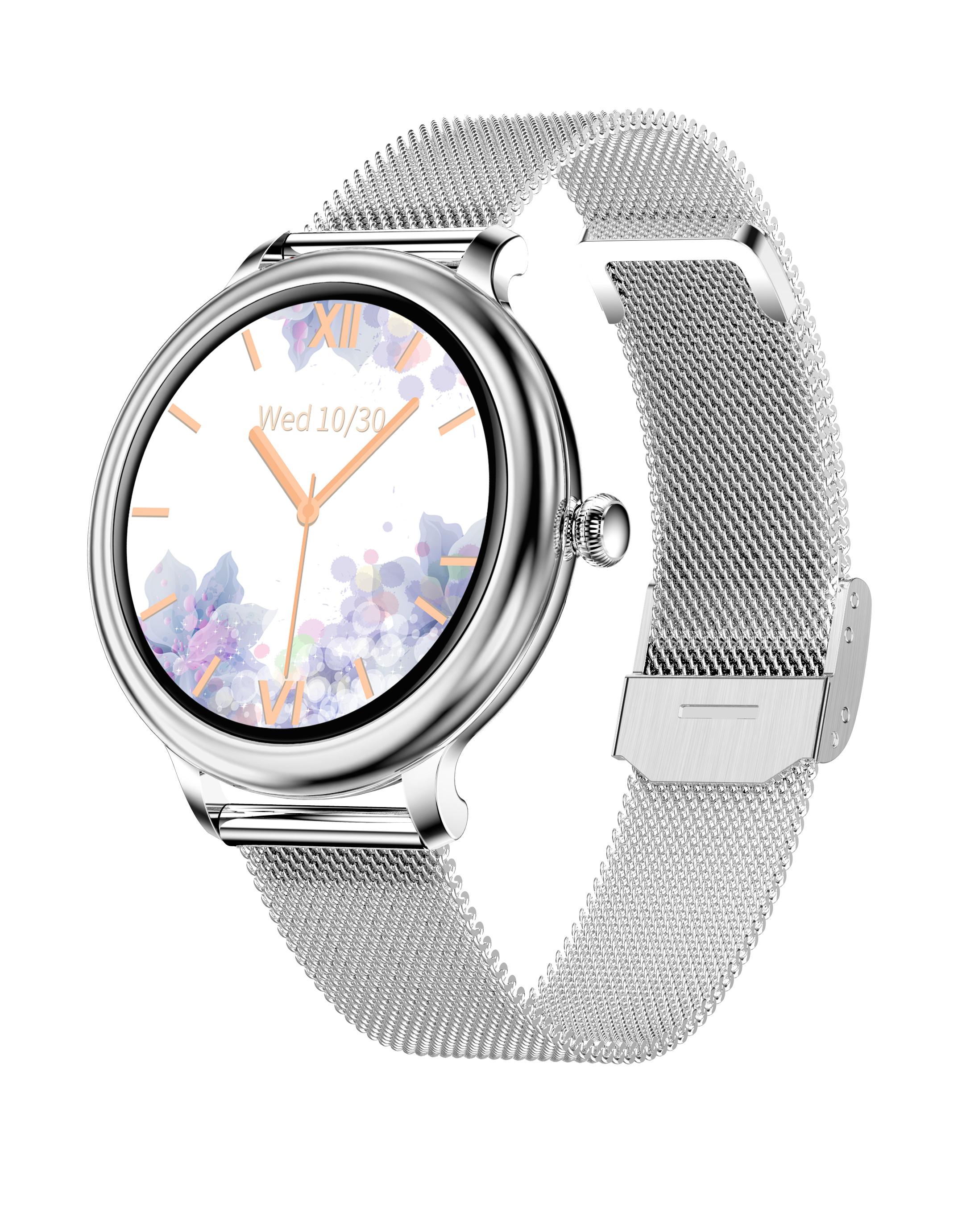 Ny13 Smart Watch Lady Heart Rate Blood Pressure Monitor Ip68 Waterproof 2.5d Lcd Screen Smartwatch Steel belt silver