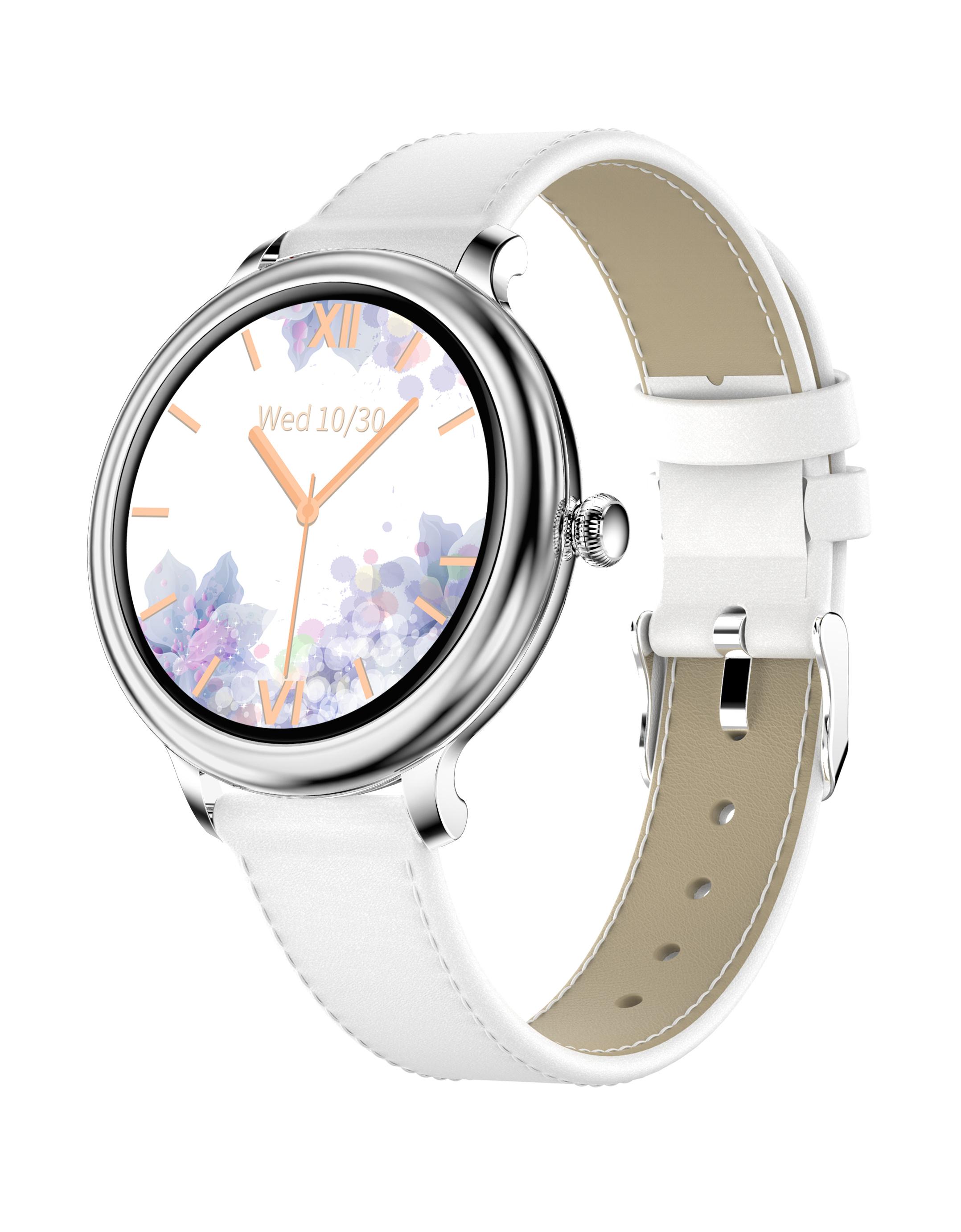 Ny13 Smart Watch Lady Heart Rate Blood Pressure Monitor Ip68 Waterproof 2.5d Lcd Screen Smartwatch Leather Belt silver