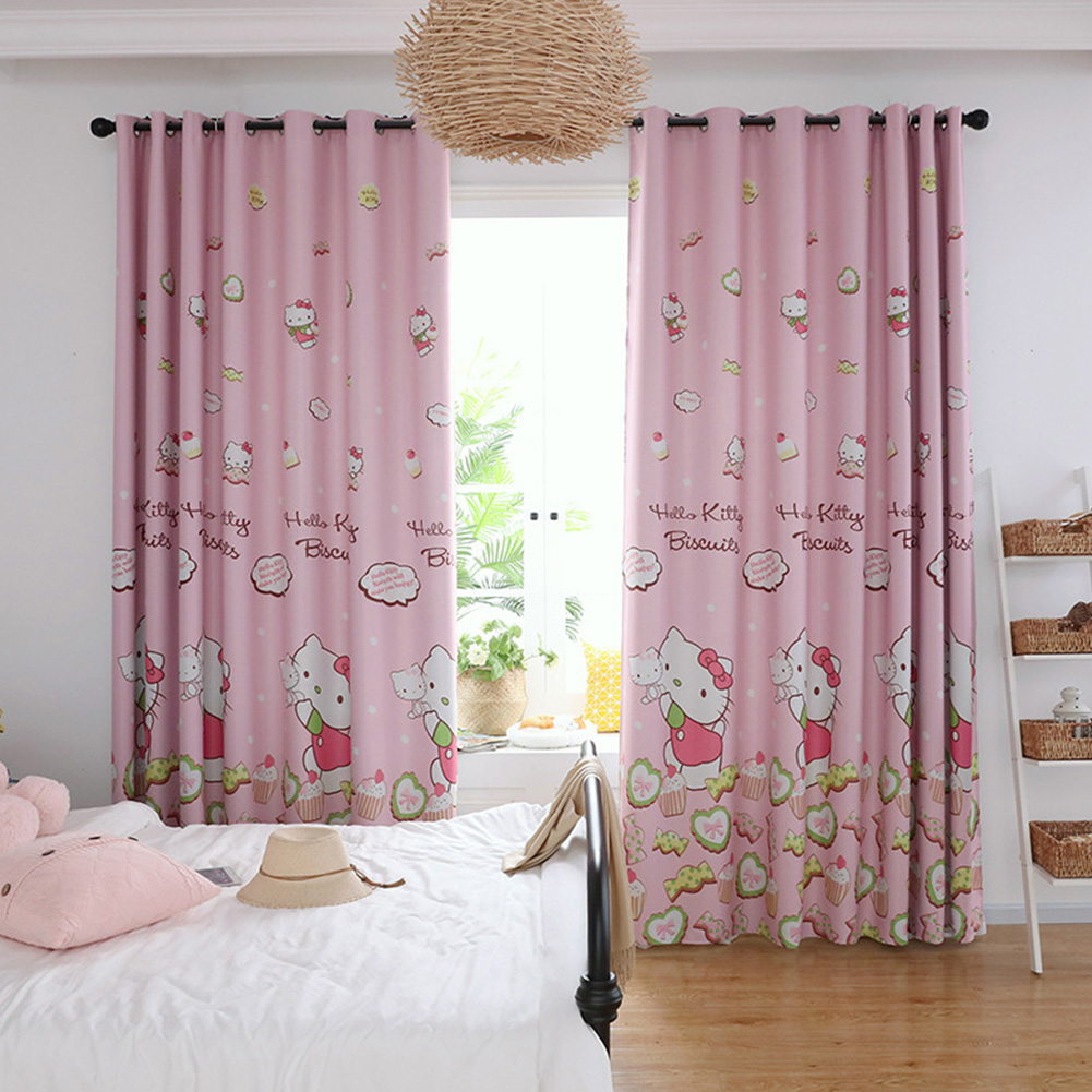 Bedroom Curtain Cartoon Hello Kitty Animal Printed Shade Curtains For Children Room  kitty cat shade cloth_1.5 * 2.7m high punch