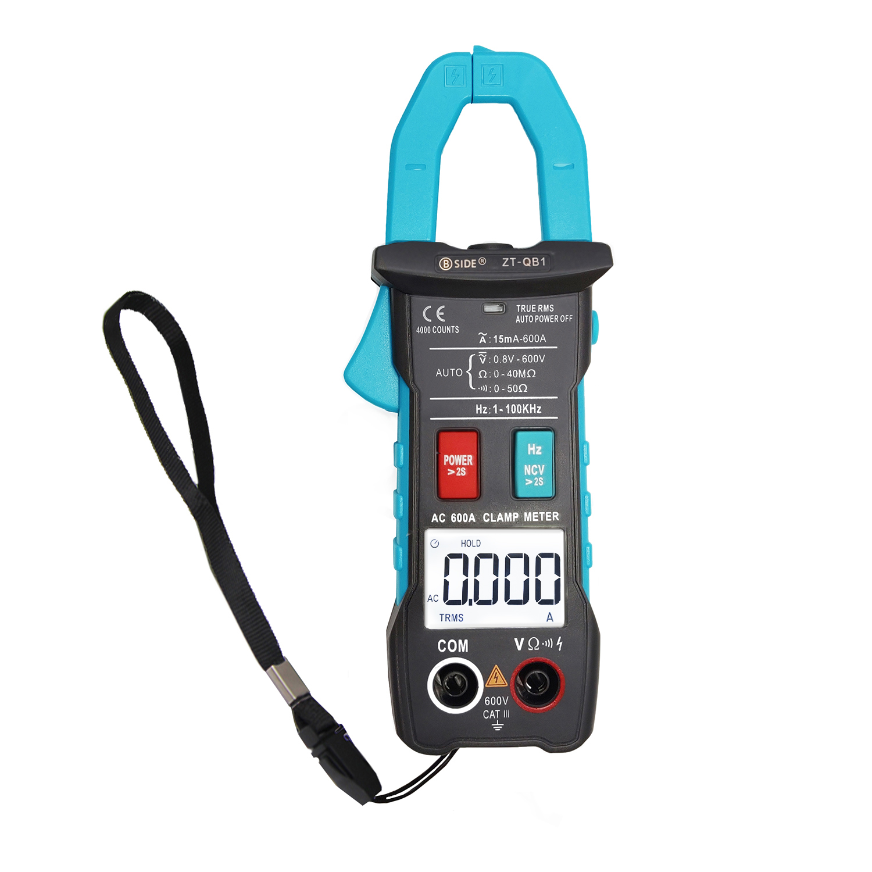 Smart Clamp Meter BSIDE ZT-QB1 600A Current TRMS Auto-Rang DC AC Voltage Ammeter Hz Ohm NCV Tester DMM Multimeter ZT-QB1