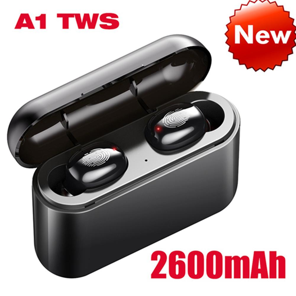 A1 TWS Bluetooth Headset 5.0 Touch Motion Wireless Bluetooth Earphone 2600 mAh black