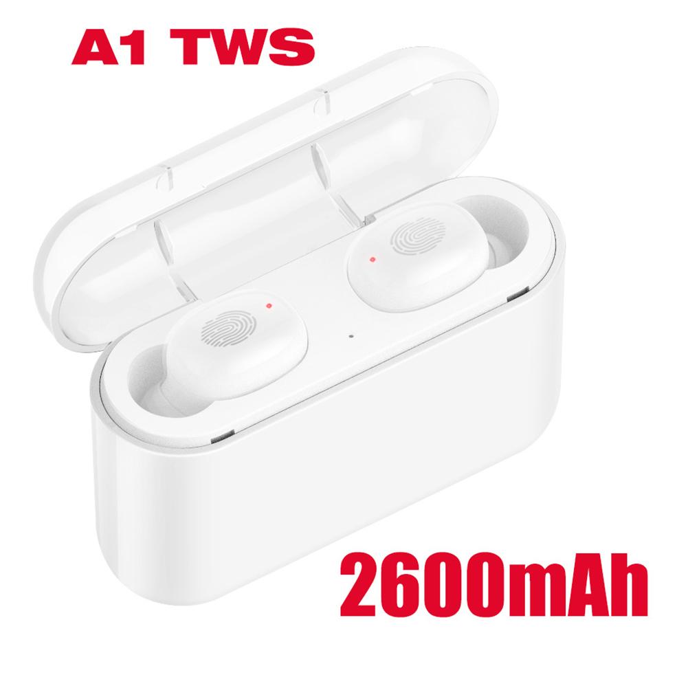 A1 TWS Bluetooth Headset 5.0 Touch Motion Wireless Bluetooth Earphone 2600 mAh white