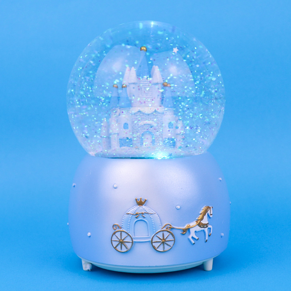 Gifts Snow Ball Music Box Princess Castle Shape Toy for Girls Birthday Valentine Gift Blue castle_Large