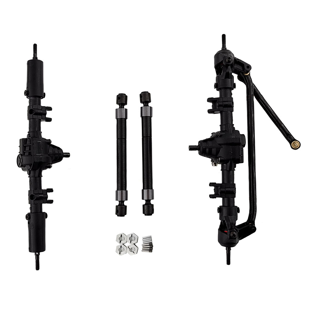 1/10 RC Car Front & Rear Bridge Axle Shaft Transmission Bridge with Differential for SCX10 SCX10 II 90046 90047 313mm 12.3in Wheelbase Assembled Frame Chassis Without differential_Front and rear axles + drive shafts