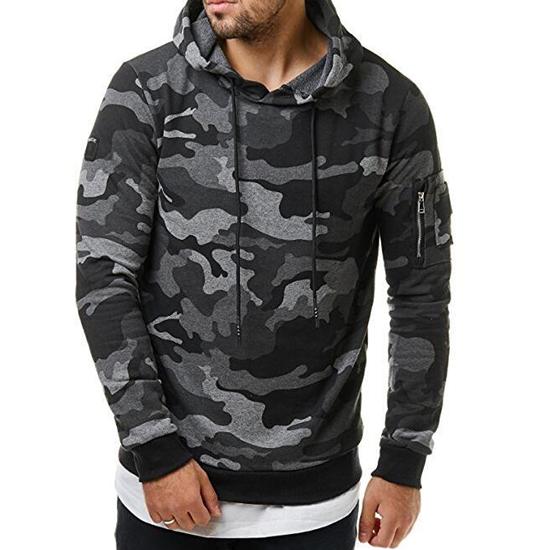 Men Hoodie Cool Camouflage Camo Pullover