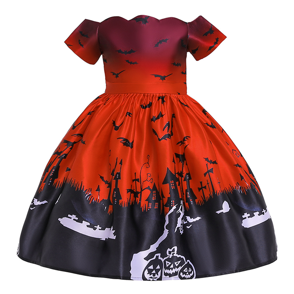 Girl Kids Costume Cartoon Pattern Printing Full Dress for Festival Stage Costume WS005-red_140cm