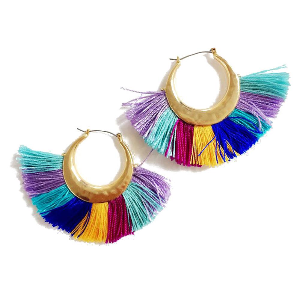 Women Gorgeous Fan-shaped Tassel Earrings Elegant Eardrop Ornament Birthday Gift