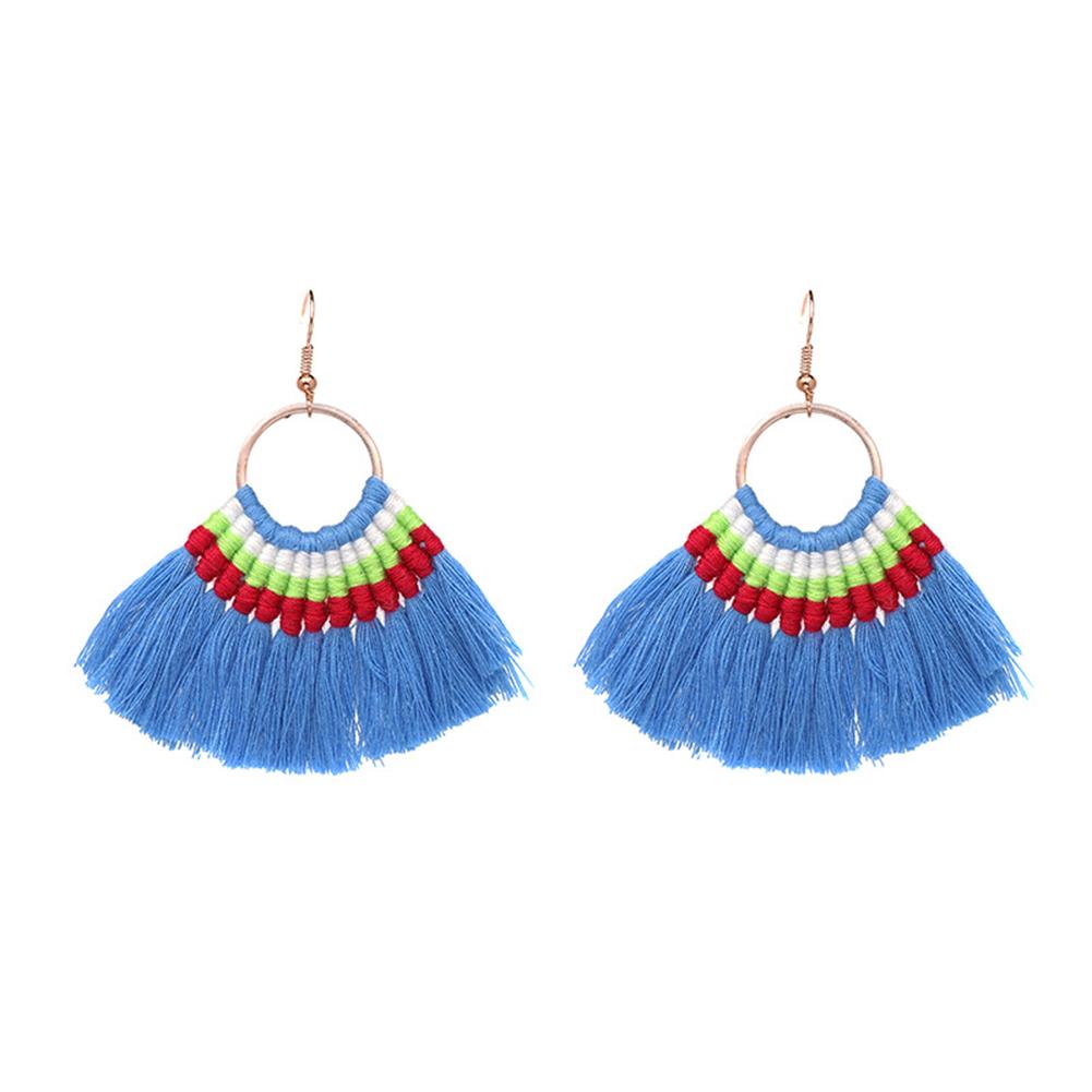 Women's Bohemian Silk Thread Tassel Fan Shaped Dangle Stud Earrings