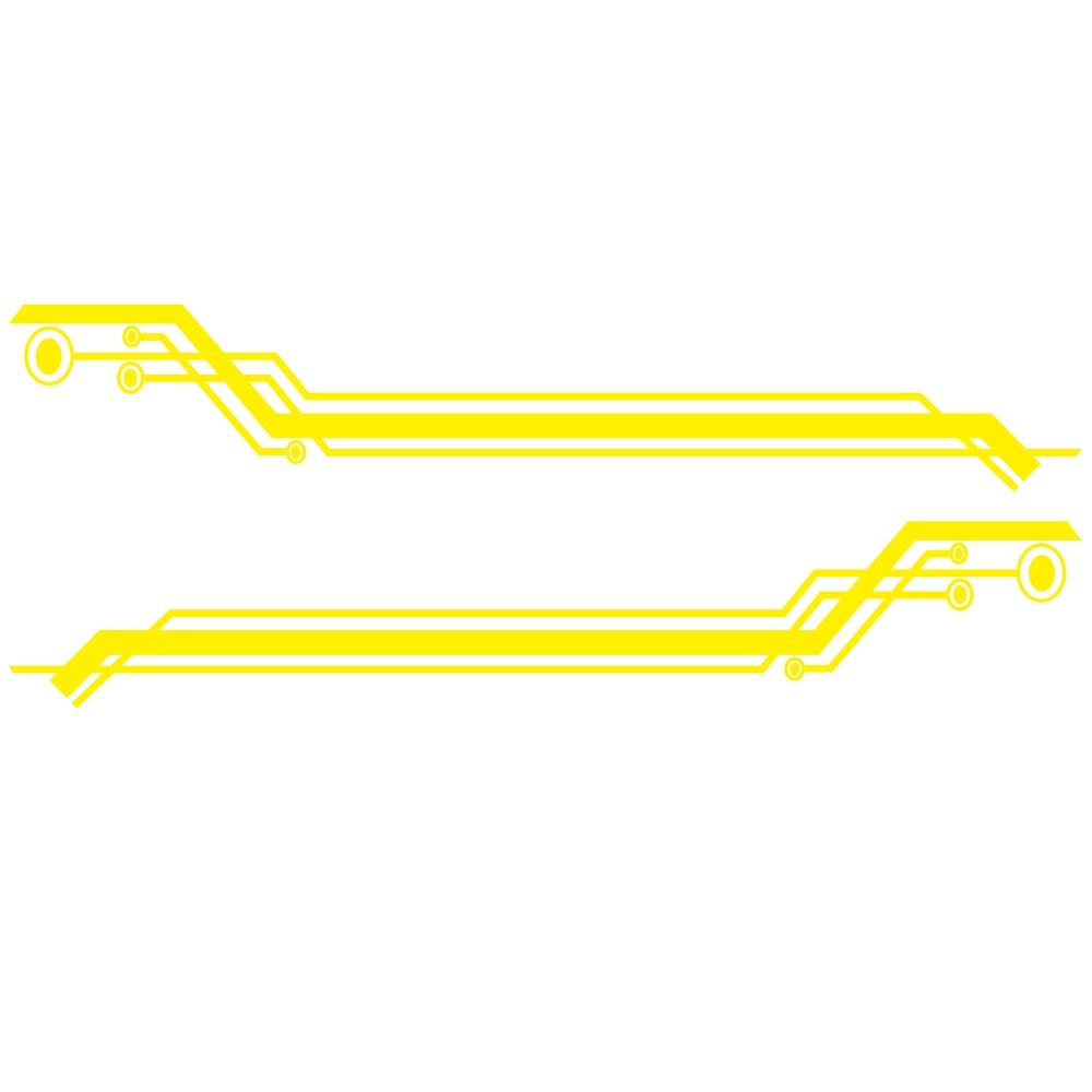 2pcs Car Body Side Door Decals Graphic Stickers 235cm Geometric Stripe Universal yellow