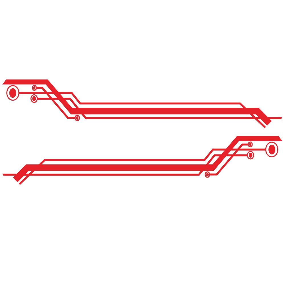 2pcs Car Body Side Door Decals Graphic Stickers 235cm Geometric Stripe Universal red