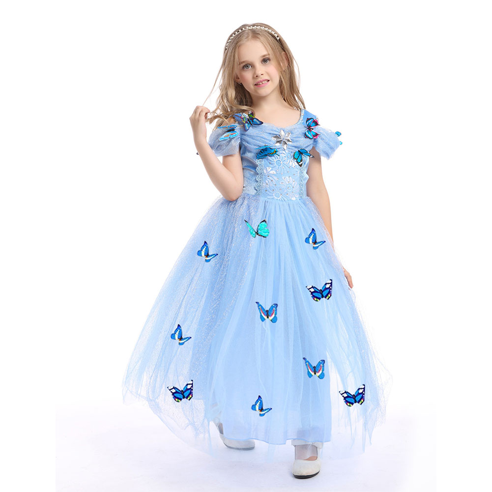 Children Girl Delicate Princess Dress Bubble Skirt Performance Dress for Halloween Blue _110cm