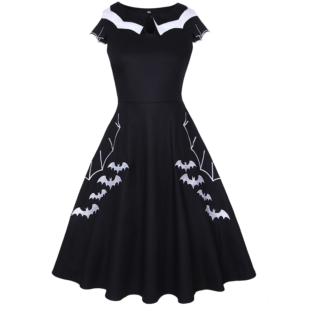Female Fashion Dress Bat Embroidery Short Sleeve Round Collar Dress  black_XXL