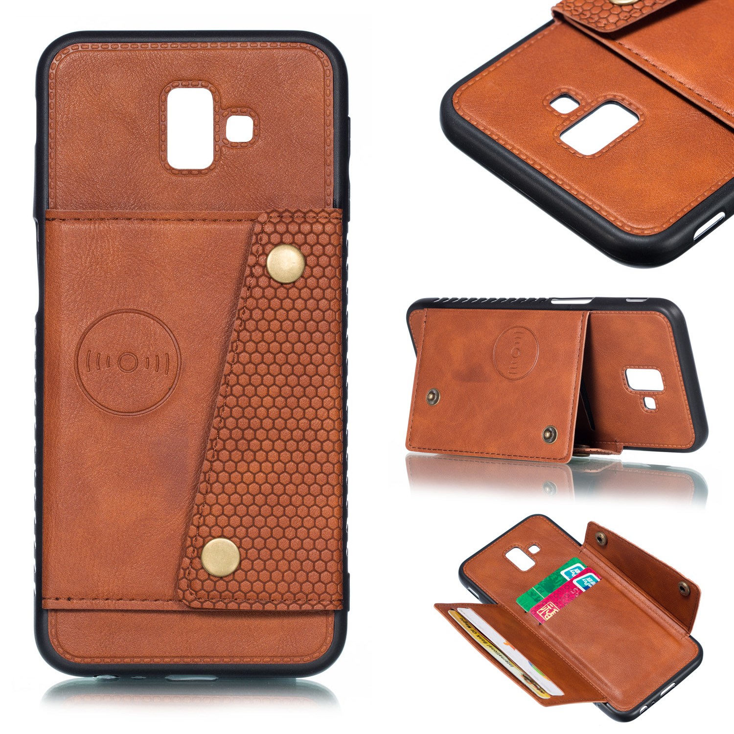 For Samsung J6 PLUS Double Buckle Non-slip Shockproof Cell Phone Case with Card Slot Bracket Light Brown