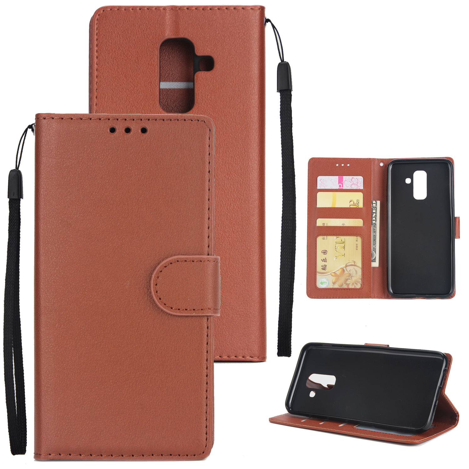 For Samsung A6 PLUS 2018 Flip-type Leather Protective Phone Case with 3 Card Position brown