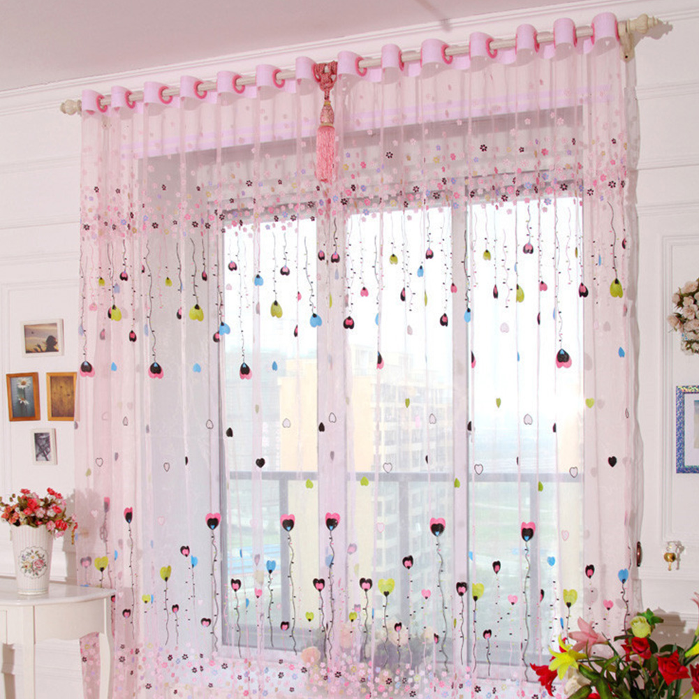 Tulle Curtain with Loving Heart Balloons Pattern for Home Balcony Living Room Kids Room  1.4m wide * 2.4m high_Pink balloon gauze
