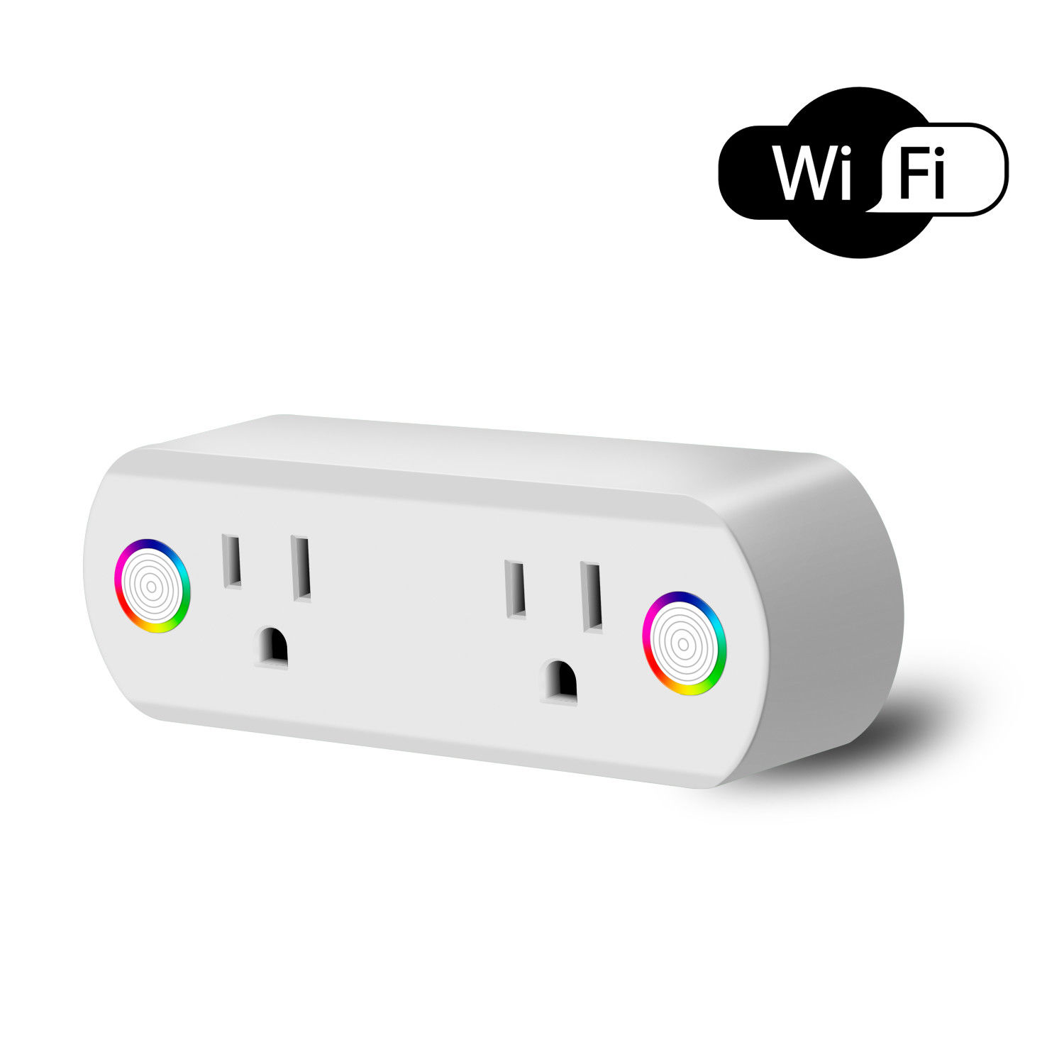 Dual Outlet WiFi Smart Plug Socket Remote Power Switch for Alexa /Google Home US Plug white