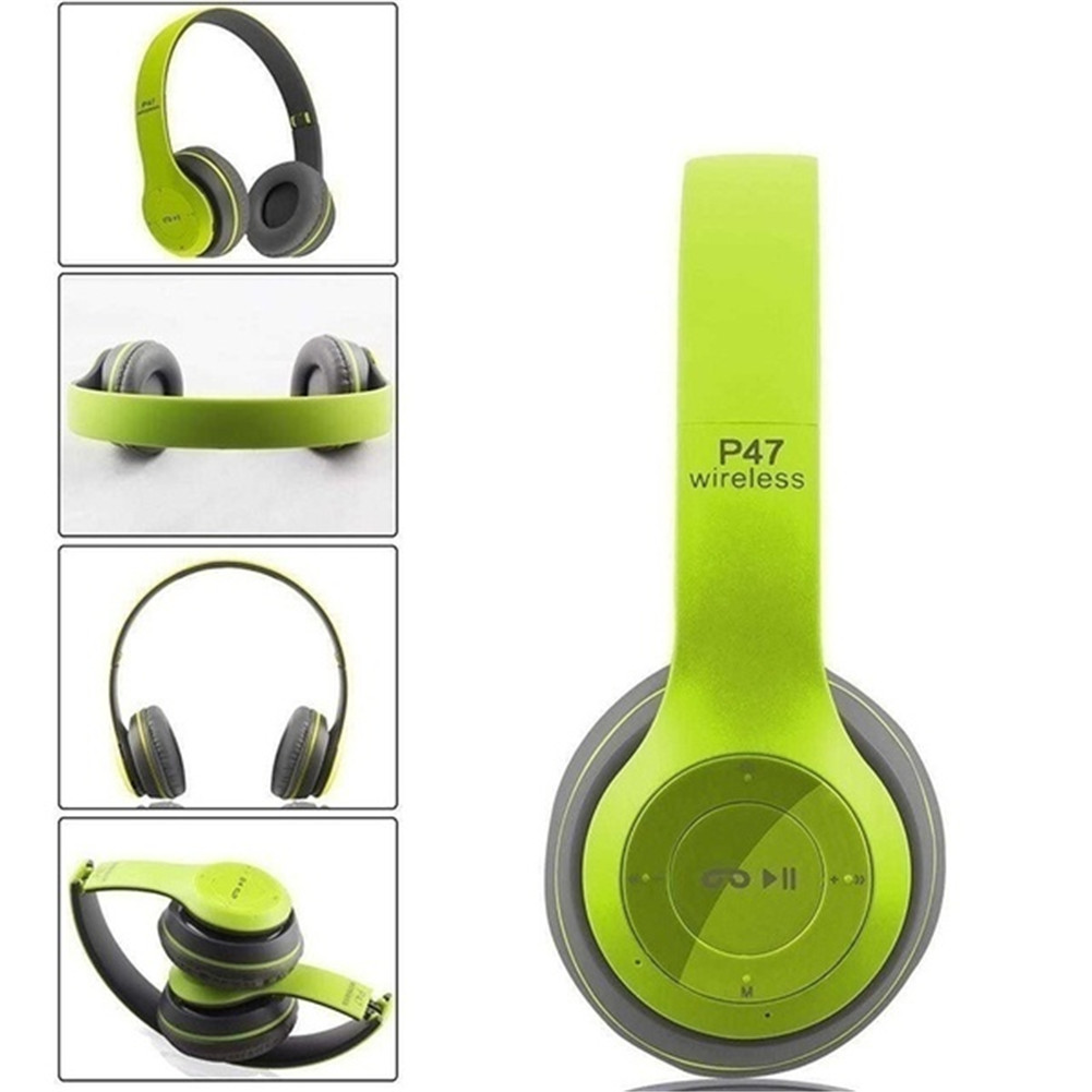 P47 Bluetooth Headset Foldable Wirless Stereo Earphone Support MP3 TF Card With Mic Widely Compatible Headphone  Matte green