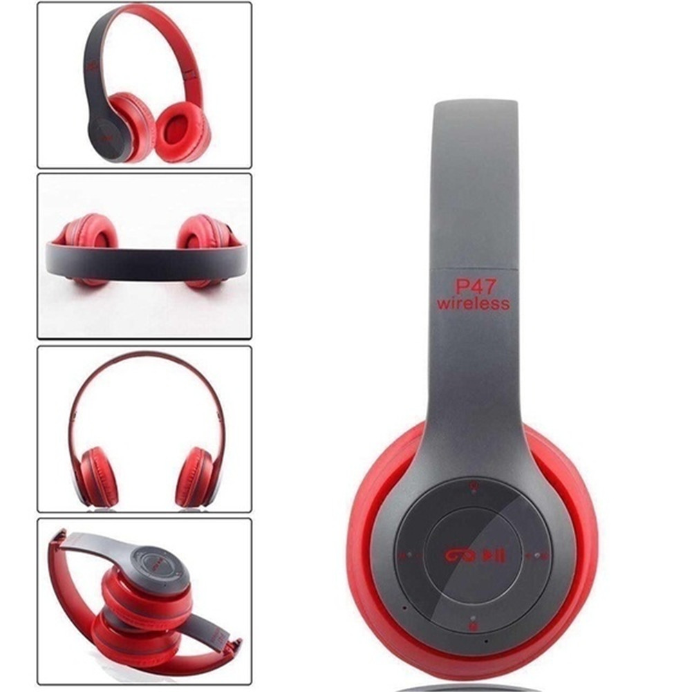 P47 Bluetooth Headset Foldable Wirless Stereo Earphone Support MP3 TF Card With Mic Widely Compatible Headphone  Matte red