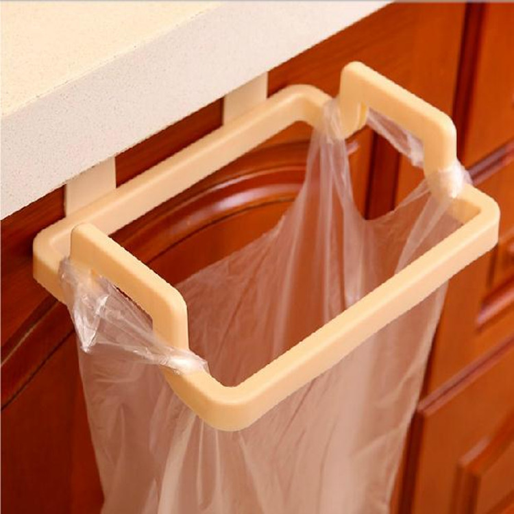Door Hanging Garbage Bag Holder Rag Rack for Home Kitchen Cabinet Storage creamy-white
