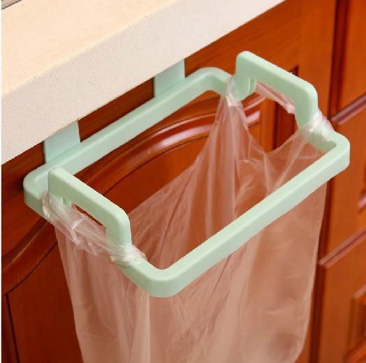 Door Hanging Garbage Bag Holder Rag Rack for Home Kitchen Cabinet Storage green