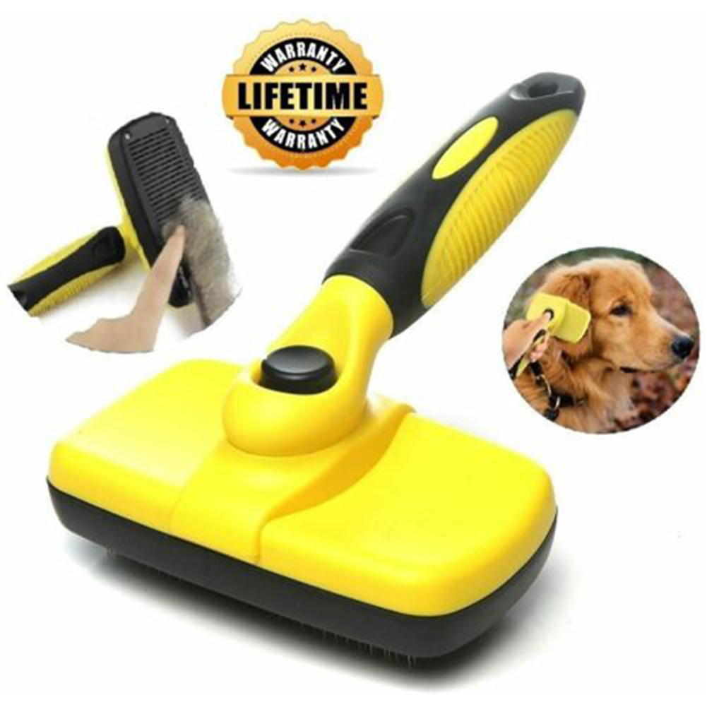 Pet Comb Dog Cat Slicker Brush Self Cleaning Grooming Telescopic Automatic Hair Removal L_yellow