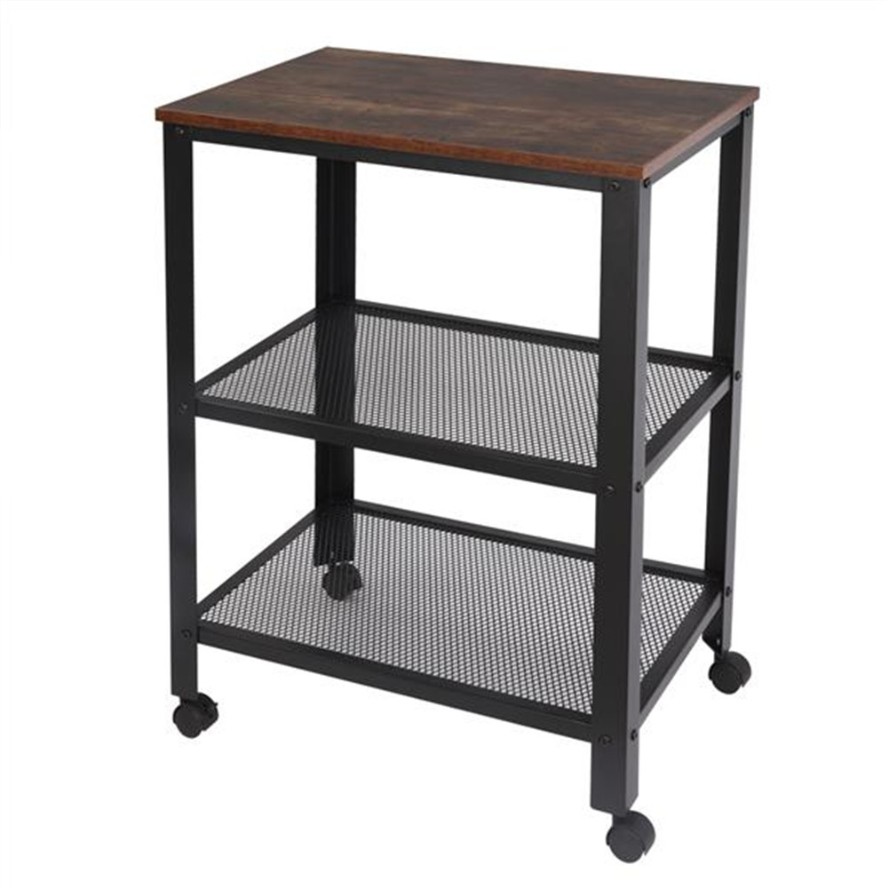 [US Direct] 3-tier Organizer  Mart For Kitchen Living Room Furniture With Wood Finish Top Wheel Locks black