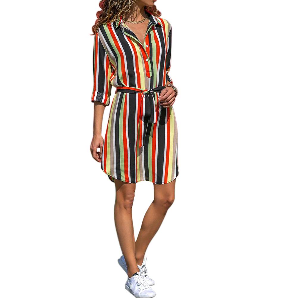 Women Colorful Striped Waist Belted Long Sleeves Shirt Dress