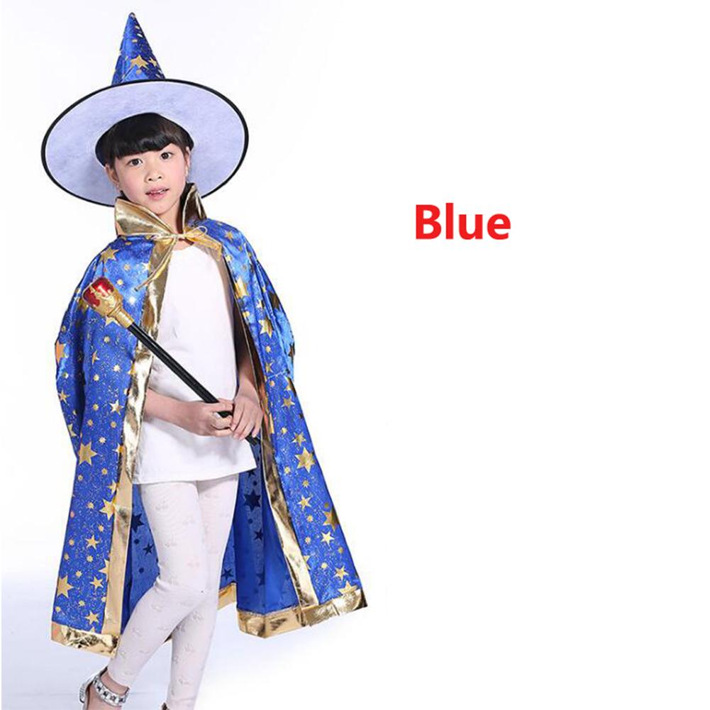 2Pcs/Set Children Halloween Chrismas Party Cosplay Costume Star Wizer Cloak Cap Hat 80 blue five-star cloak + hat