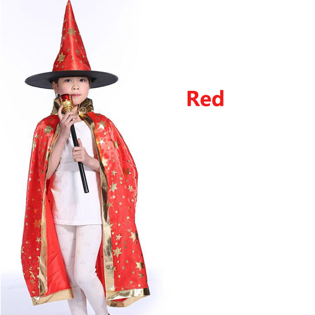 2Pcs/Set Children Halloween Chrismas Party Cosplay Costume Star Wizer Cloak Cap Hat 80 red five-star cloak + hat