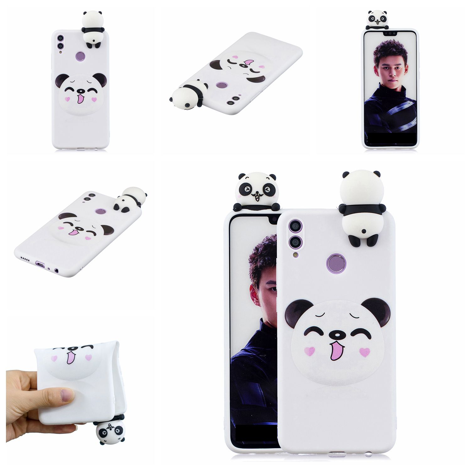 For Huawei Nova 3I 3D Cartoon Lovely Coloured Painted Soft TPU Back Cover Non-slip Shockproof Full Protective Case Smiley panda