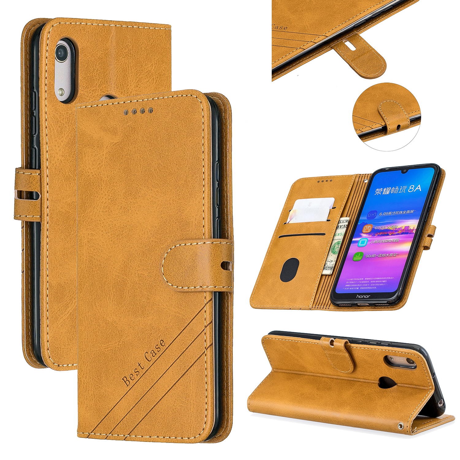 For HUAWEI Y6 2019 Denim Pattern Solid Color Flip Wallet PU Leather Protective Phone Case with Buckle & Bracket yellow