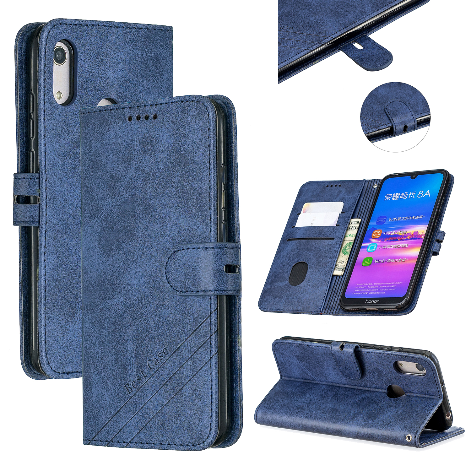 For HUAWEI Y6 2019 Denim Pattern Solid Color Flip Wallet PU Leather Protective Phone Case with Buckle & Bracket blue