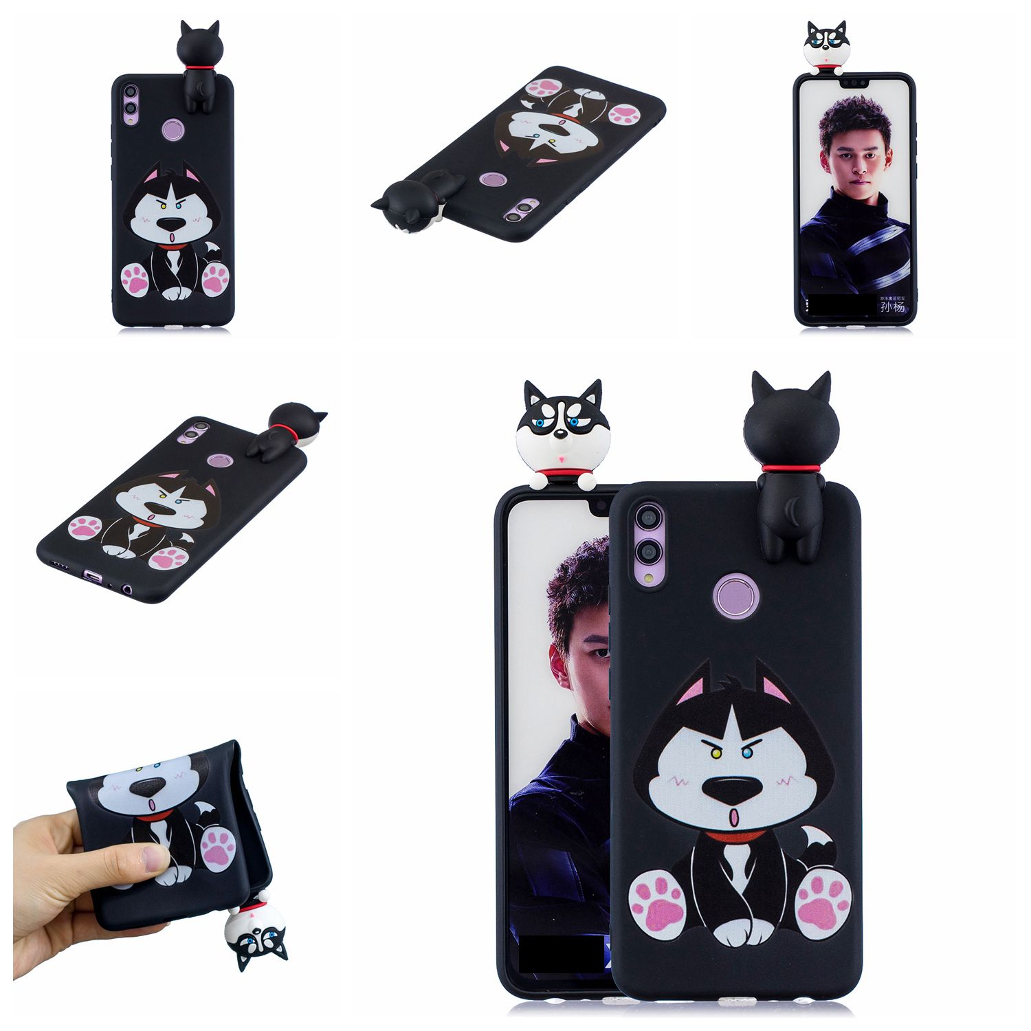 For Huawei Nova 3I 3D Cartoon Lovely Coloured Painted Soft TPU Back Cover Non-slip Shockproof Full Protective Case cute husky