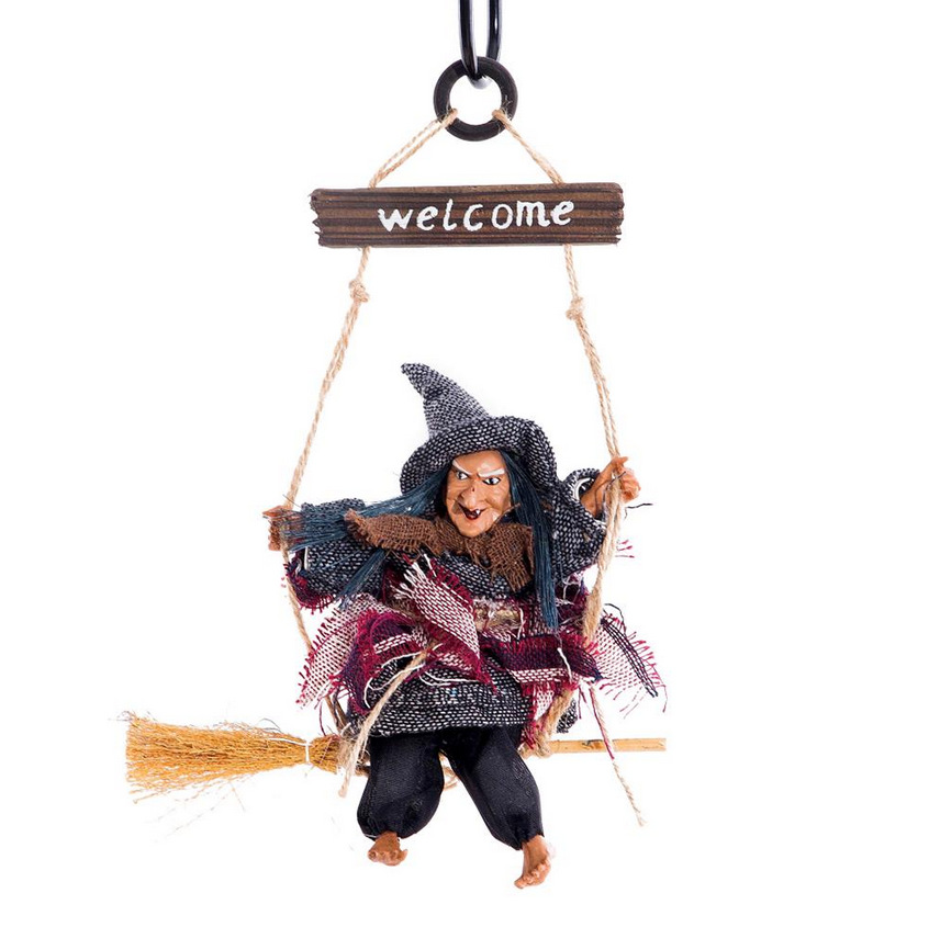 Flying Broomstick Witch Shape Hanging Pendant Halloween Bar Decoration red