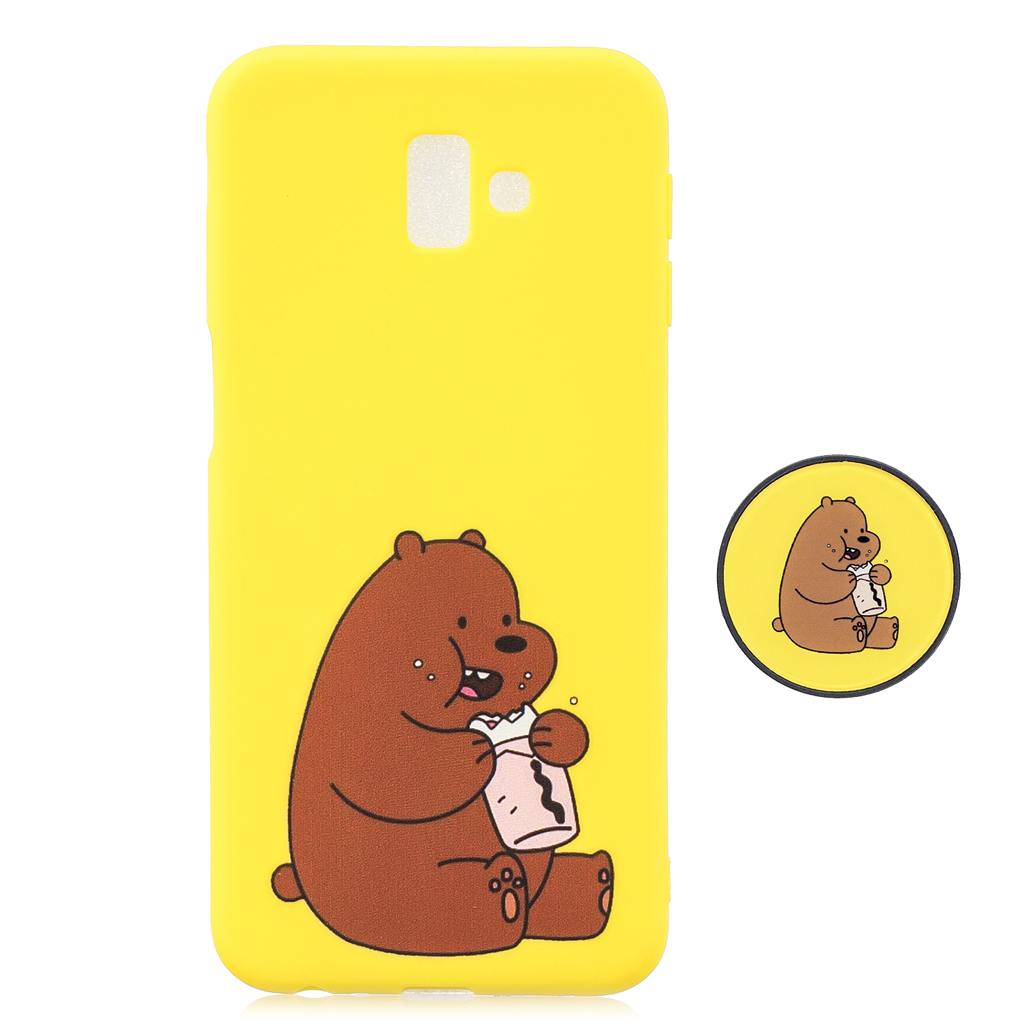 For Samsung J6 PLUS Non-Slip TPU Bumper Case Shockproof Full-Body Protective Case Cover with Adjustable Bracket 8