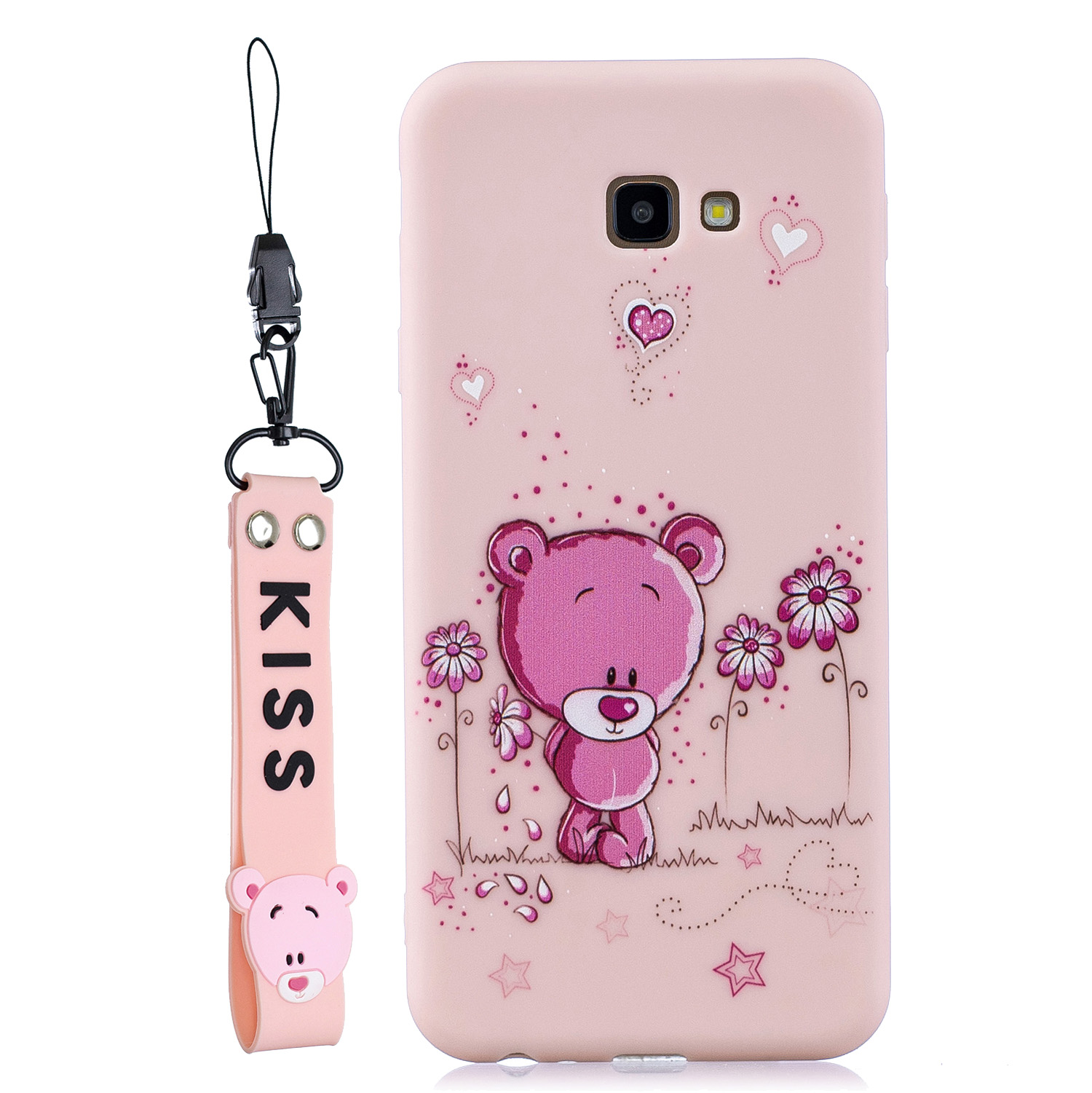 For Samsung A5 2017 Cartoon Lovely Coloured Painted Soft TPU Back Cover Non-slip Shockproof Full Protective Case with Lanyard Light pink